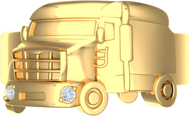 gents truck driving ring with diamonds